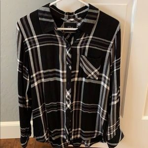 Rails Hunter Grey and Black Plaid Blouse, Sz M